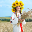 Little girl is in vintag national clothes — Stock Photo #47813399