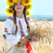 Little girl is in vintag national clothes — Stock Photo #47813403