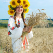 Little girl is in vintag national clothes — Stock Photo #47813405