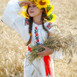 Little girl is in vintag national clothes — Stock Photo #47813407