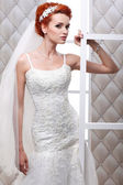 A photo of sexual beautiful bride in a wedding-dress is in fashion style. Wedding decorations — Stock Photo