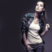 A photo of beautiful girl is in fashion style, glamour — Stock Photo