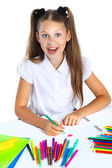 School girl drawing with felt-tips — Stock Photo