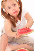 Funny kid eating watermelon — Stock Photo