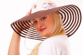 Attractive blonde woman in a hat — Foto Stock
