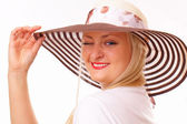 Funny blonde woman in a hat — Stock Photo