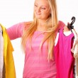 Beautiful blonde woman likes shopping — Stock Photo