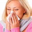 Stock Photo: Blonde womwith rhinitis