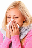 Blonde woman with rhinitis — Stock Photo