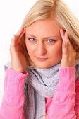 Mulher loira com dor de cabeça — Foto Stock