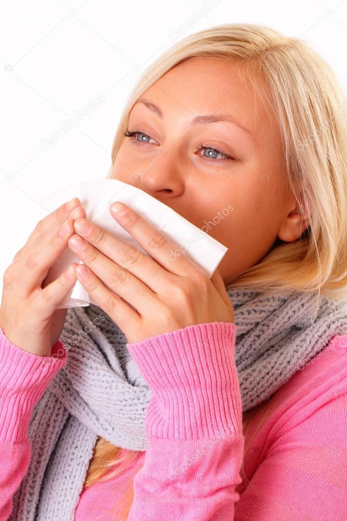 Pretty blonde woman with cold — Stock Photo #13958672