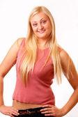 有魅力的金发女人穿红色衬衫 — 图库照片