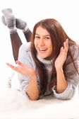 Handsome young brunette woman — Stock Photo