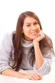 Smiling young brunette woman — Stock Photo