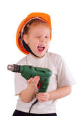 Cute little girl with drill — Stock Photo