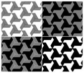 Set of Four B&W Seamless Patterns. Triangle Elements — Stock Vector