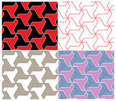 Set of Four Color Seamless Patterns. Triangle Elements — Stock Vector