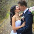 Lovely couple in love kissing each other on the day of the wedding they are even standing in the park outdoors - copyspace — Stock Photo #42269015