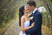 Lovely couple in love kissing each other on the day of the wedding they are even standing in the park outdoors - copyspace — Stock Photo