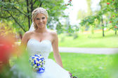 Beautiful bride outdoors — Stok fotoğraf