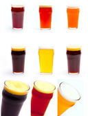 Set Frosty glass of light beer set isolated on a white backgroun — Stock Photo