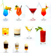 Various type of alcoholic drinks isolated on white — Stock Photo