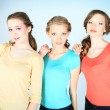 Multiethnic group of young woman isolated on white background — Stock Photo