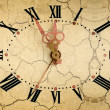 Vintage clock face on dry soil background — Stock Photo #13120031