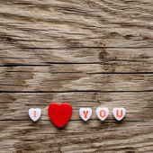 Valentines red hearts on wooden background — Stock Photo