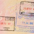 Stamp of cyprus visa in russian passport - Stock Photo