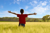 Child enjoying the sun on wheat field — Stock Photo