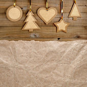 Vintage christmas background on wood — Stock Photo