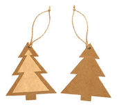 Paper tag in form of christmas tree isolated on white background — Stock Photo