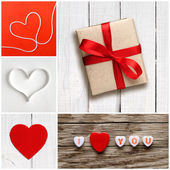 Valentine's day collage of photos with hearts and gift box — Stock Photo