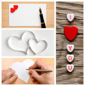 Valentine's day collage of photos with hearts — Stock Photo