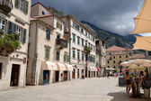 KOTOR, MONTENEGRO - JULY 14: Square of arms on July 14, 2014 in Kotor, Montenegro. Kotor is town on coast of Montenegro and located on the Bay of Kotor (Boka Kotorska). — Stock Photo