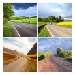 Beautiful collage of rural roads — Stock Photo #14317925