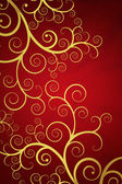 Elegant red background with golden swirls — Stock Photo