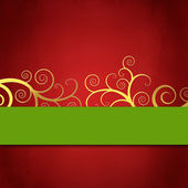 Elegant red and green background with golden swirls — Foto Stock