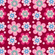 Pretty retro flowers on purple background — Vecteur #17655279