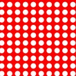 White polkdots on red seamless — Vettoriale Stock #17655337