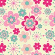 Stock vektor: Pretty, pink retro flowers seamless pattern