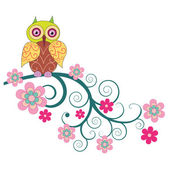 A cute owl sitting on the branch of flowers — Vector de stock