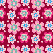 Pretty retro flowers on purple background — Vettoriale Stock