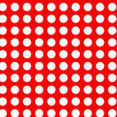 Weiße polka dots auf rot nahtlose — Stockvektor