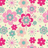 Hübsch, rosa retro blumen nahtlose muster — Stockvektor