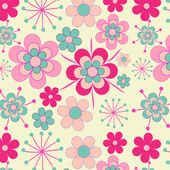 Pretty, pink retro flowers seamless pattern — Stock Vector