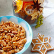 Christmas walnuts and buiscuits — Foto Stock