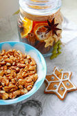 Christmas walnuts and buiscuits — Stock Photo