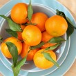 Ripe clementines on the blue, pastel plate — Foto Stock